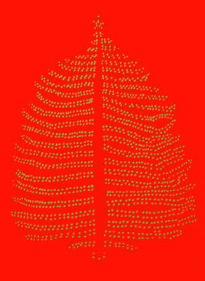Christmas Tree on Red – Single Bulbs