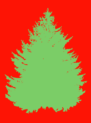 Solid Christmas Tree on Red